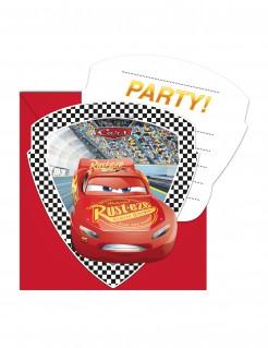 Cars 3™-Einladungskarten mit Umschlägen 6 Stück rot 12x12cm