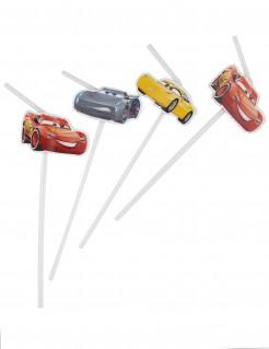 Cars 3™ Strohhalme Disney™ Lizenzartikel Tischdeko für Kindergeburtstage 6 Stück weiss-bunt 23,5cm