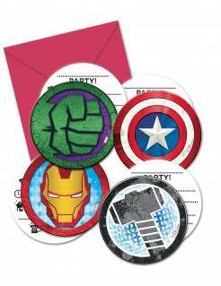 Avengers™ Einladungskarten Kindergeburtstag Lizenzware 6 Stück bunt