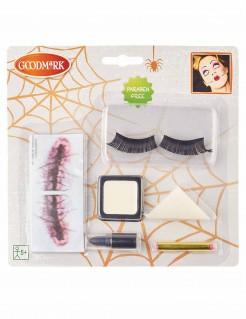 Horror-Puppe Schminkset Halloween Make-up 7-teilig schwarz-rot