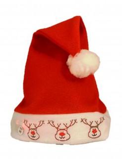 LED-Weihnachtsmütze mit Rentieren Accessoire rot-weiss