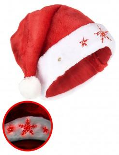 Schneeflocken-Weihnachtsmütze rot-weiss