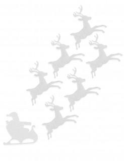 Set mit 6 Rentieren und Schlitten - Weihnachts-Dekoration - Filz 16 cm - weiß