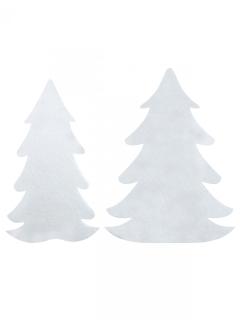 Weihnachtsbäume Dekoration aus Wollfilz 6 Stück weiss