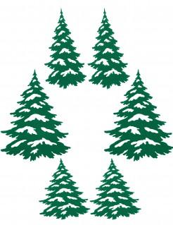 Klebetannen für Weihnachten 6 Stück grün