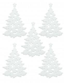 Dekotannen für Weihnachten 5 Stück weiss
