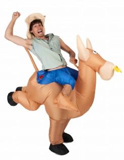 Aufblasbares Carry-Me-Kostüm Rodeo-Reiter braun-blau
