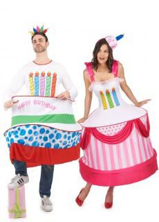 Geburtstagskuchen-Paarkostüm Karneval bunt