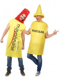 Mayonnaise- und Senf-Paarkostüm schwarz-gelb-rot