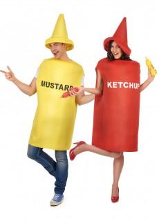 Senf und Ketchup-Paarkostüm für Erwachsene bunt