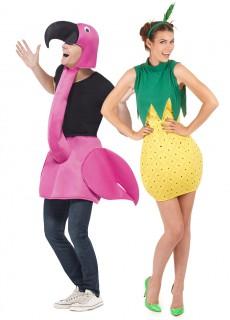 Flamingo und Ananas-Paarkostüm Fasching rosa-gelb-grün
