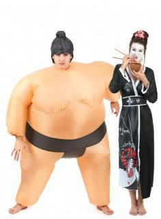 Sumo und Geisha-Paarkostüm bunt