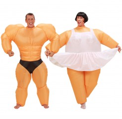 Aufblasbares Paarkostüm Bodybuilder und Ballerina orange