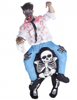 Halloween Carry Me Kostüm Skelett schwarz-weiss-blau