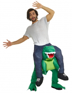 Originelles Dinosaurier Carry-Me-Kostüm grün-blau