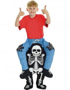 Carry-Me Skelettrücken-Kinderkostüm schwarz-weiss-blau