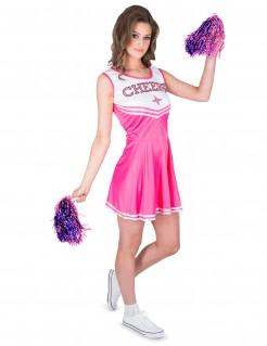 Sexy Cheerleaderin Damenkostüm pink-weiss