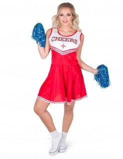 Cheerleaderin-Kostüm für Damen mit PomPoms rot-weiss-blau