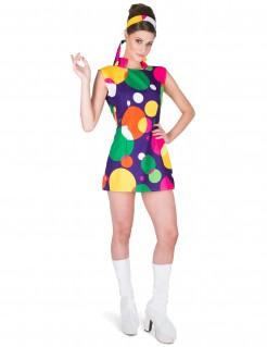Disco-Minikleid Damenkostüm mit Punkten lila-bunt