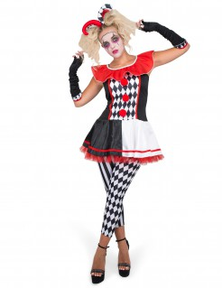 Harlekin-Damenkostüm Karnevalskostüm schwarz-weiß-rot