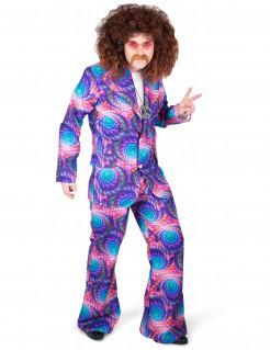 Disco-Herrenkostüm psychedelischer Anzug lila-bunt