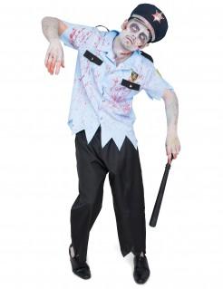 Gruseliger Zombie-Polizist Halloween Herrenkostüm blau-schwarz-gold