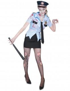 Schaurige Zombie-Polizistin Untote Halloween Damenkostüm blau-schwarz-gold