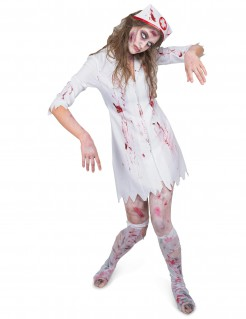Halloween Damen-Kostüm Horrorkrankenschwester weiss-rot