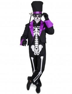Halloween Herrenkostüm Dia de los Muertos schwarz-weiss-lila
