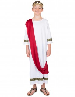 Römischer Herrscher Kinderkostüm Antike weiss-rot-gold