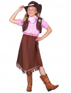 Sheriff-Mädchenkostüm Westernkostüm für Kinder braun-rosa