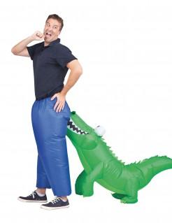 Aufblasbares Krokodilbiss-Kostüm grün-blau