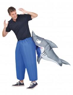 Aufblasbares Hai-Kostüm Haifisch-Attacke blau-grau