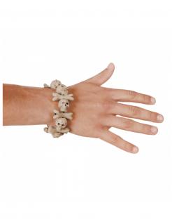 Halloween Schmuck Armband aus Totenköpfen beige