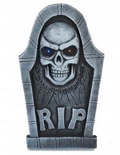 Halloween Dekoration Grabstein mit Totenkopf grau 53x29cm