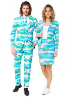 Opposuits™ Urlaubsanzug für Paare Inselmotiv blau-grün-weiss