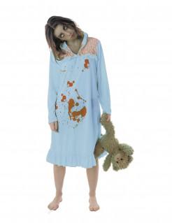 Zombie-Schlafwandlerin Halloween-Damenkostüm blau-rot
