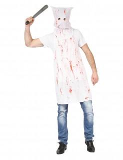 Maskierter Mörder Horrorkostüm weiss-rot