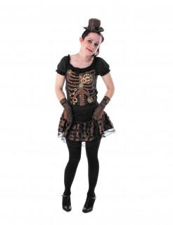 Steampunk-Skelettlady Halloween-Teenkostüm schwarz-braun