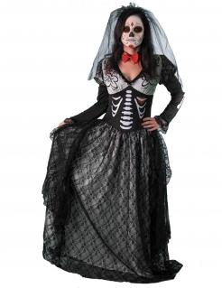Dia de los Muertos Skelett-Gräfin Halloween-Damenkostüm schwarz-grau