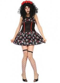 Totenschädel-Damenkostüm schwarz-rot-weiss