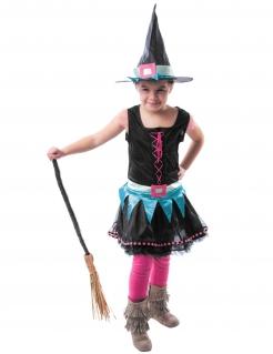 Kleine Hexe Kinderkostüm für Mädchen schwarz-blau-rosa