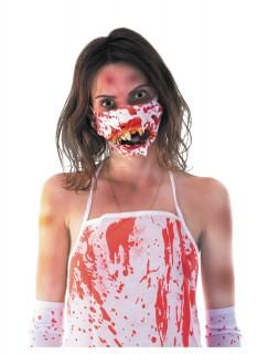 Zombiemaske blutiger Mund für Halloween