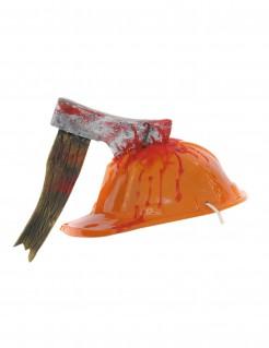 Bauarbeiter-Helm mit Axt Blutiger Halloween-Helm orange