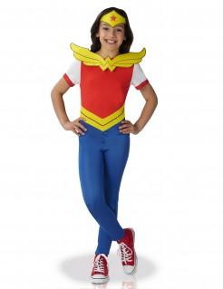 kleine Wonder Woman™-Mädchenkostüm Superheldin rot-blau