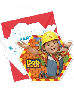 Bob the Builder™ Einladungskarten mit Umschlägen für Kindergeburtstage Lizenzartikel 6 Stück bunt 12 x 12cm