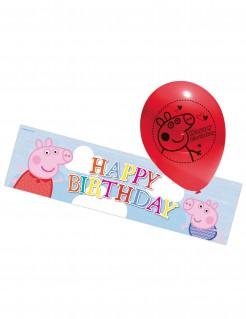 Peppa Wutz™ Luftballons und Banner Kindergeburtstags-Deko 6-teilig rot-bunt