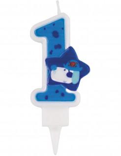 Piraten-Kerze Geburtstagskerze Zahl 1 blau-weiss 9cm