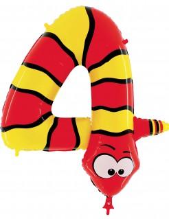 Folienballon Schlange Nummer 4 rot-gelb
