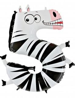 1 Zebra-Folienballon Zahl 5 weiß/schwarz